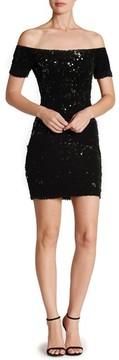 Dress the Population Women's Larissa Sequin Off The Shoulder Body-Con Dress