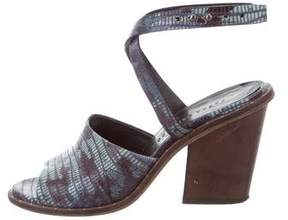 Freda Salvador Embossed Ankle Strap Sandals