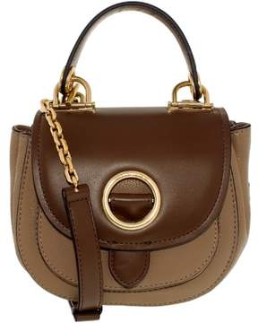 Michael Kors Women's Small Isadore Leather Messenger Bag Satchel - Dark Khaki/Dark Caramel - DARK KHAKI/DARK CARAMEL - STYLE