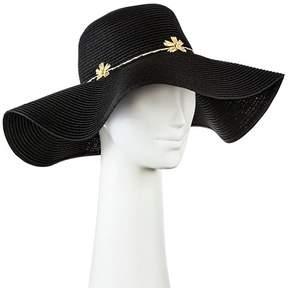 Merona Women's Floppy Straw Hat Black with Embroidery Flower