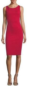 Emporio Armani Scoop-Neck Sleeveless Tonal-Grid Stretch-Knit Sheath Dress
