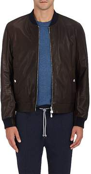 Brunello Cucinelli Men's Reversible Leather & Denim Bomber Jacket