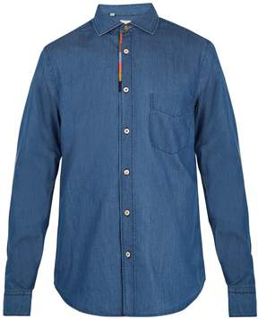Paul Smith Embroidered cotton-blend chambray shirt