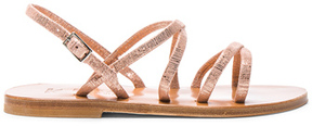 K. Jacques Metallic Suede Batura Sandals in Metallic,Pink.