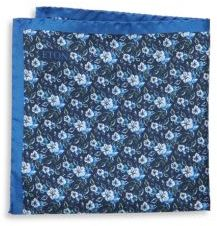 Eton Logo & Floral-Print Raw Silk Pocket Square