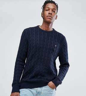 Farah Ludwig Cable Knit Sweater in Navy