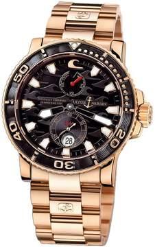 Ulysse Nardin Maxi Marine Diver Black Dial 18kt Rose Gold Men's Watch