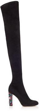 Jimmy Choo MYA 100 Black Stretch Suede Over The Knee Boots with Embellished Heel