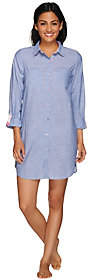 Carole Hochman Jane & Bleecker Button Down Long Sleeve Sleep Shirt