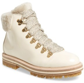 AGL Women's Genuine Shearling Cuff Hiker Boot