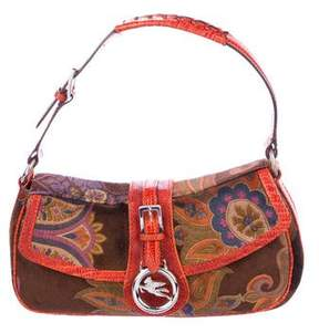 Etro Floral Pattern Velvet Shoulder Bag