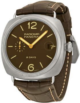 Panerai Radiomir 8 Days Brown Dial Brown Leather Men's Watch