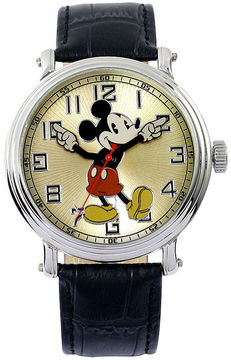 Disney Mickey Black Leather Strap Watch