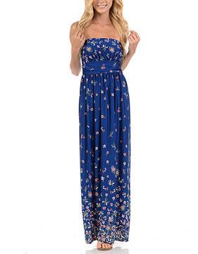Celeste Navy Floral Strapless Maxi Dress - Women