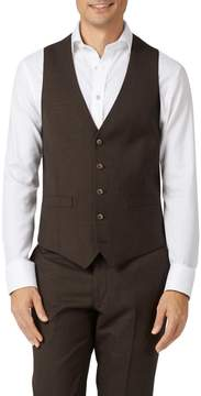 Charles Tyrwhitt Chocolate Adjustable Fit Sharkskin Travel Suit Wool Vest Size w36