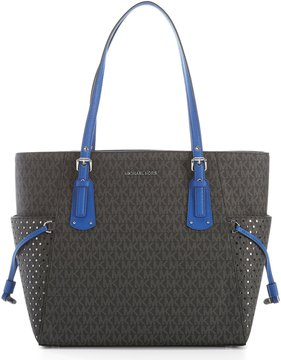 MICHAEL Michael Kors Signature Voyager East/West Tote - BLACK/ELECTRIC BLUE - STYLE