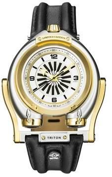 Triton GV2 Gv2 Two Tone Ipyg Case White Dial Brown Leather Strap Gv2 Watch.
