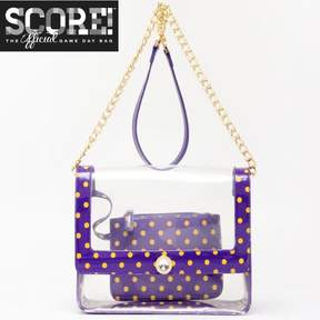 clear PU Cross Body Shoulder Bag for Game Day Chrissy Royal Purple & Yellow Gold by SCORE! The Official Game Day Bag Two Piece Set