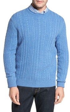 David Donahue Men's Cable Knit Cashmere Sweater