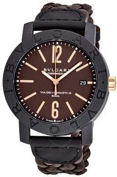 Bvlgari Automatic Brown Dial Brown Leather Men's Watch