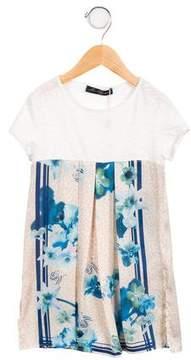 Miss Blumarine Girls' Floral Printed A-Line Dress w/ Tags