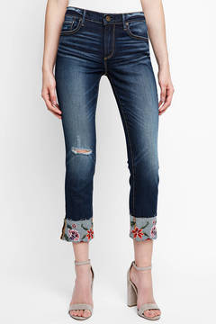 Driftwood Colette Embroidered Cuff Crop Jeans