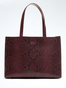 Portfolio Structured Snake-Effect Leather Tote