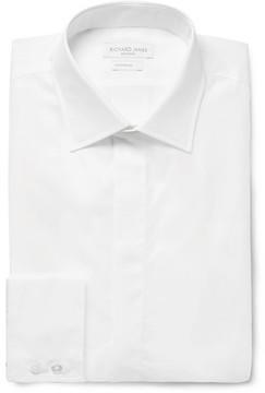 Richard James Ivory Slim-Fit Cutaway-Collar Cotton-Poplin Shirt