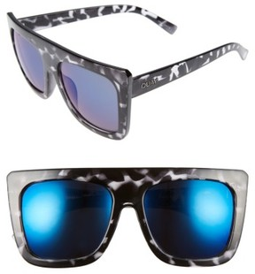 Quay Women's Cafe Racer 55Mm Square Sunglasses - Black Tort/ Blue