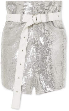 IRO Natou Belted Sequined Twill Mini Skirt - Silver