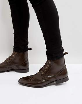 Asos Lace Up Brogue Boots In Brown Faux Leather