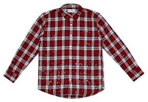 DL1961 Boy's Splattered Plaid Woven Shirt