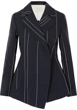 Cédric Charlier Striped Linen And Cotton-blend Blazer - Navy