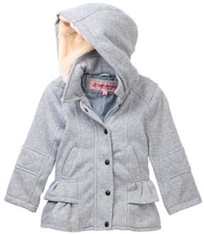 Urban Republic Faux Shearling Ruffled Hooded Coat (Toddler Girls)
