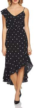 1 STATE 1.STATE Asymmetric Dot Ruffle Midi Dress