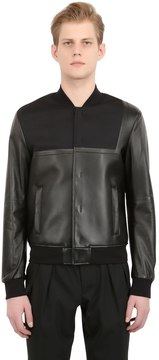 Emporio Armani Asymmetrical Nappa Leather Bomber Jacket