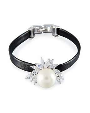 Fallon Monarch Pearly Leather Cuff Bracelet, Black