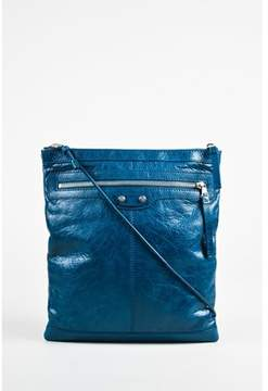 Balenciaga Pre-owned Blue Wrinkled Leather Silver Tone Classic neo Sketch Crossbody Bag.