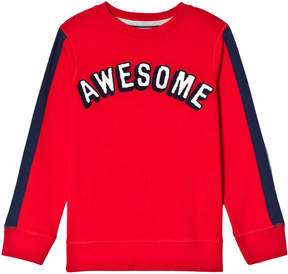 Lands' End Red Awesome Graphic Crew Sweatshirt with Navy Stripe Sleeve