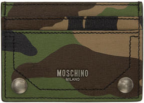 Moschino Green Camo Leather Card Holder