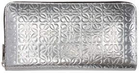 Loewe Silver Anagram Zip Around Wallet