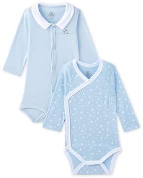 Petit Bateau SET OF 2 NEWBORN BABY GIRLS LONG SLEEVE BODYSUITS