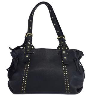 Carlos Falchi Black Leather Studded Shoulder Bag
