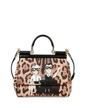 Dolce & Gabbana Miss Sicily Medium Stefano/Domenico Leopard-Print Satchel Bag, Multicolor - LEOPARD MULTI - STYLE