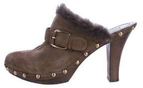 Celine Studded Shearling Clogs