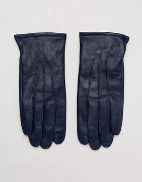 Asos Leather Gloves In Navy