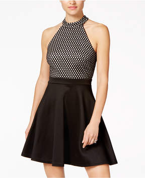 As U Wish Juniors' Metallic Fishnet Halter Fit & Flare Dress