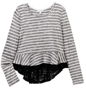 Love, Fire Long Sleeve Peplum Top (Big Girls)