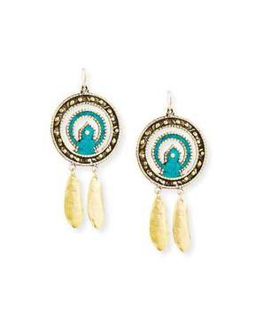 Devon Leigh Turquoise Leaf Pendant Earrings