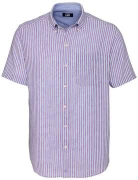 Cutter & Buck Red & Blue Stripe River Front Short-Sleeve Button-Up - Men
